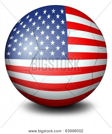 Illustration of a ball with the USA flag on a white background