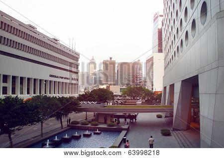 Jardine House and General Post Office of Hong Kong at sundown