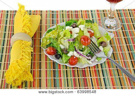 Greek salad with fork