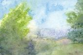 stock photo of hazy  - Watercolor landscape summer haze - JPG