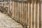 stock photo of cardo  - Ancient columns from Jerash Roman city in Jordan - JPG