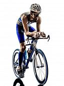 picture of triathlon  - man triathlon iron man athlete bikers cyclists bicycling biking  in silhouettes on white background - JPG