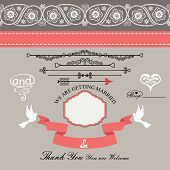 foto of pigeon  - The wedding design template set in Retro style with vignettes - JPG