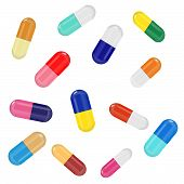 stock photo of antidepressant  - Vector illustration of thirteen capsules of various colors - JPG
