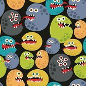 stock photo of microorganisms  - Seamless pattern with colorful virus monsters - JPG