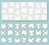 pic of oblong  - Vector illustration of horizontal jigsaw puzzle with separate elements - JPG