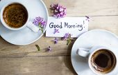 image of lilac bush  - Cup of coffee Good morning note and lilac flower on the wooden table - JPG