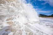 image of off-shore  - Closeup of wave off the beach at Sumbawa Island - JPG