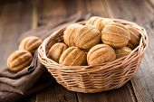image of condensation  - Cookies stuffed with condensed milk in a basket - JPG