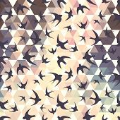 stock photo of swallow  - Seamless texture with the swallow and hexagons - JPG