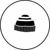 pic of knitted cap  - beanie knit cap symbol - JPG
