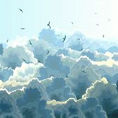 stock photo of flock seagulls  - Vector square illustration flock birds on background of blue sky with large clouds - JPG