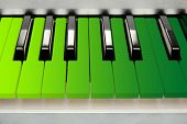 pic of rainbow piano  - Colorful piano keyboard close - JPG