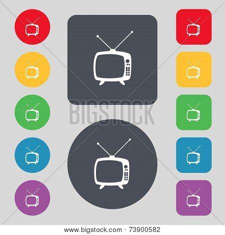 Retro TV mode sign icon. Television set symbol. Set colourful buttons. Hand cursor pointer Vector