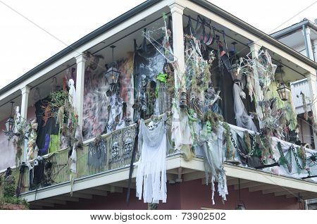 Haunted Halloween Decorations On Bourbon Street