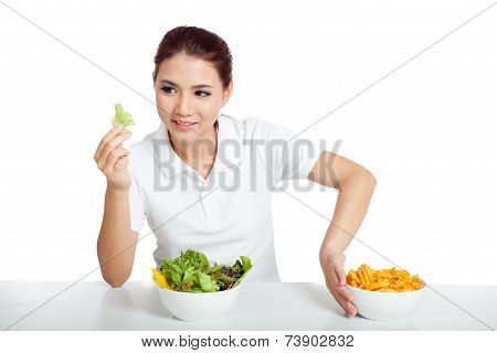 Asian Girl Smile For Salad Push Away Crisps