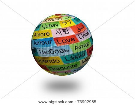 Love Multilingual Word 3D Ball