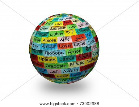Love Multilingual Word 3D
