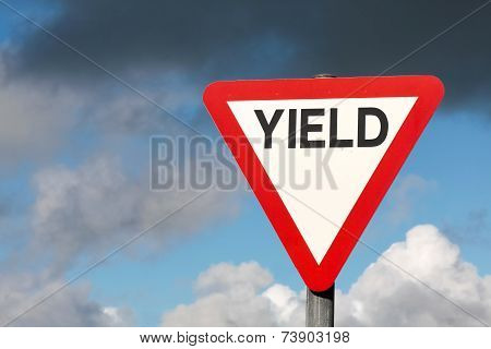 Give Way Sign With Text Yield