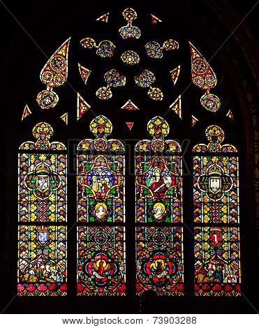 Krakow, Poland - September 26, 2014 Catholic cathedral stained glass window