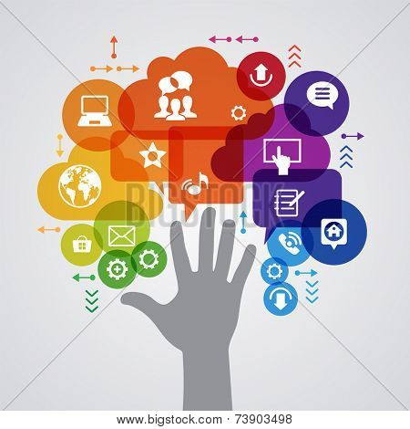 Vector background. Social media concept. Ã?Â??ommunication in the global computer networks. Set of flat design concept icons for web and mobile services. Human hand, and symbols in the form of a tree.