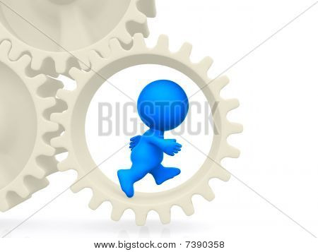 3D Man Running On Gears