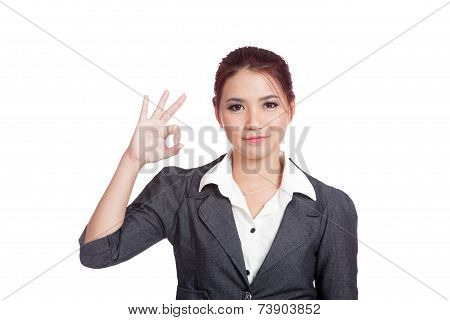 Asian Business Woman Show Ok Hand Sign  And Smile