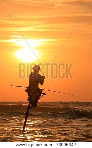 Silhouette Of A Stick Fisherman At Sunset, Unawatuna, Sri Lanka