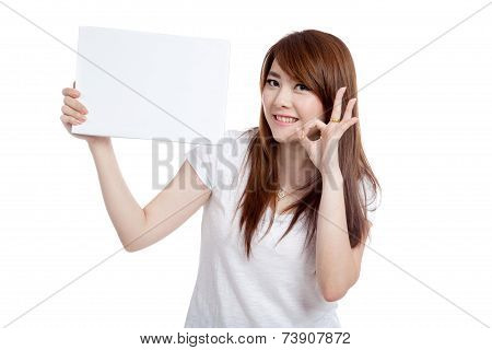 Asian Girl Hold Blank Sign Show Ok Sign