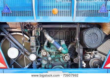 Rear View Of Bus Engine Open Cover Door Show Indise For Maintenance