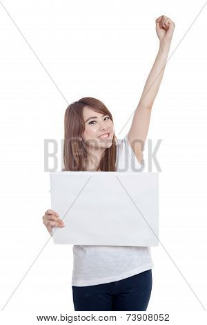 Asian Girl Hold Blank Sign  Fist Up