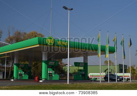 KIEV, UKRAINE - OCT 14, 2014: Cars  refuel station WOG .October 14, 2014 Kiev, Ukraine