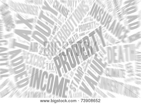 Collection of words referring to taxes in the UK. Zoom effect added.