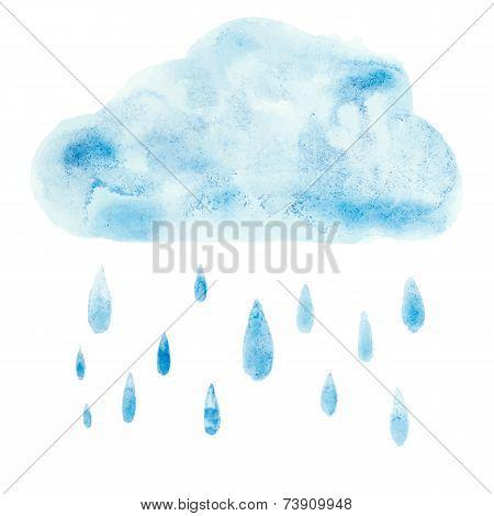 Hand draw aquarelle art paint blue watercolor cloud rain drop Vector illustration