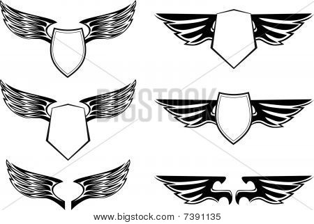 Heraldic Wings With Shields