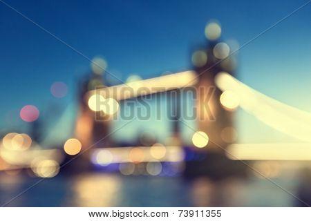 bokeh Tower Bridge of London, UK