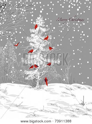 Birds Christmas tree, winter scene