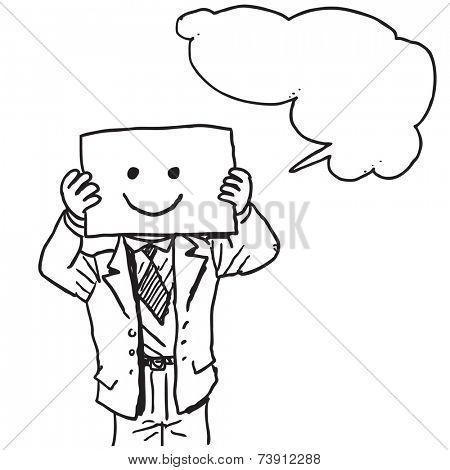 Businessman with happy face on paper speaking