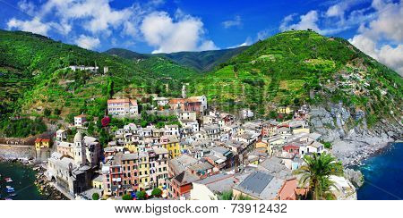 panorama of Vernazza - beautiful coastal village in Cinque terre