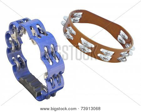 The image of blue tambourine isolated under the white background