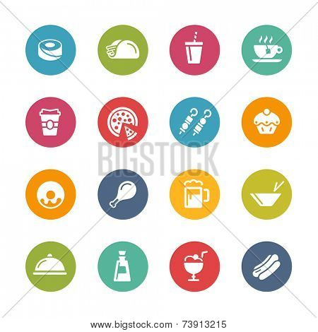 Food & Drink Icons - 2 // Fresh Colors Series ++ Icons and buttons in different layers, easy to change colors ++