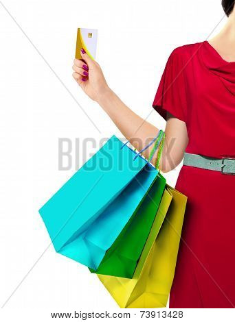 Women With Shopping Bags And Credit Card