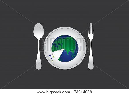 Environmental Distruction Concept With Earth Served On A Plate To Eat Like A Pizza