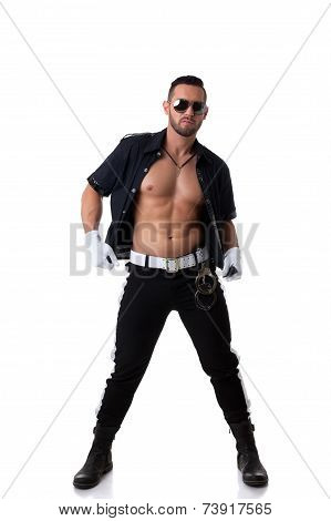 Image of sexy muscular cop posing at camera