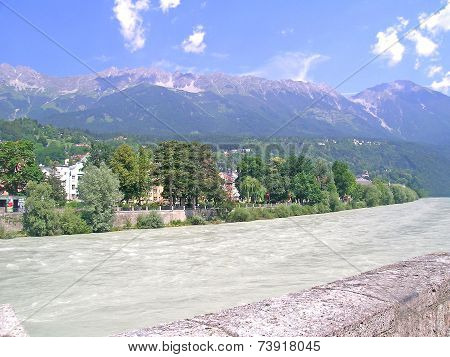 Inn river and alps, Innsbruck, Austria