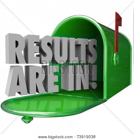 Results Are In 3d words in a green metal mailbox to inform you that test or research findings are available and delivered