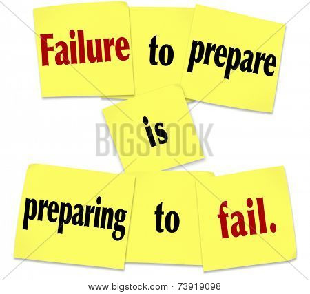 Failure to Prepare is Preparing to Fail words in a saying or quote on sticky notes