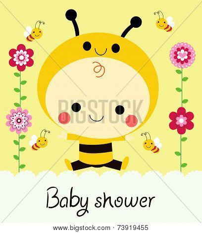 Baby shower card with baby dressed as a bee