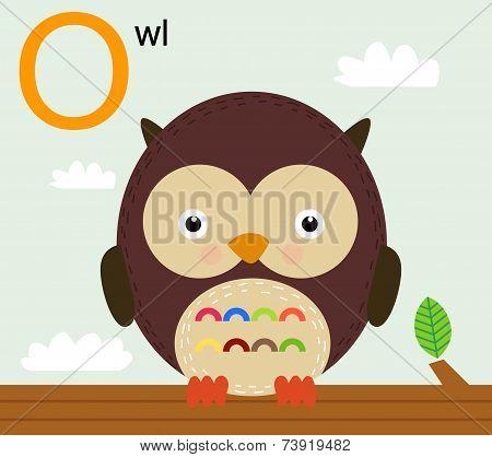 Animal alphabet for the kids: O for the Owl