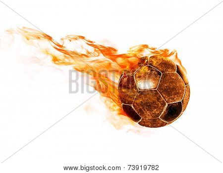 flying fiery ball on white background